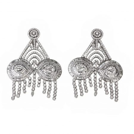 Wedding | White gold earrings with full diamonds | For Women
