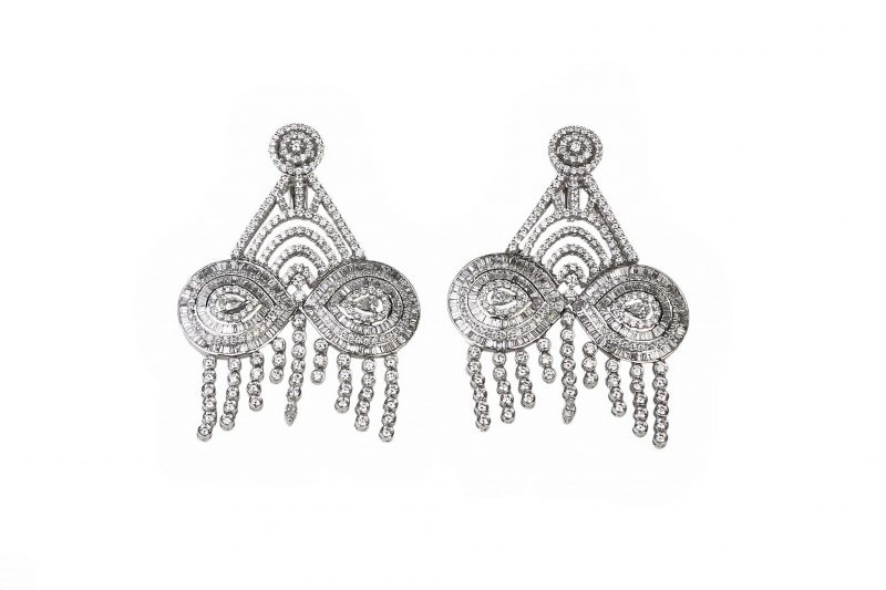 Wedding | White gold earrings with full diamonds | For Women