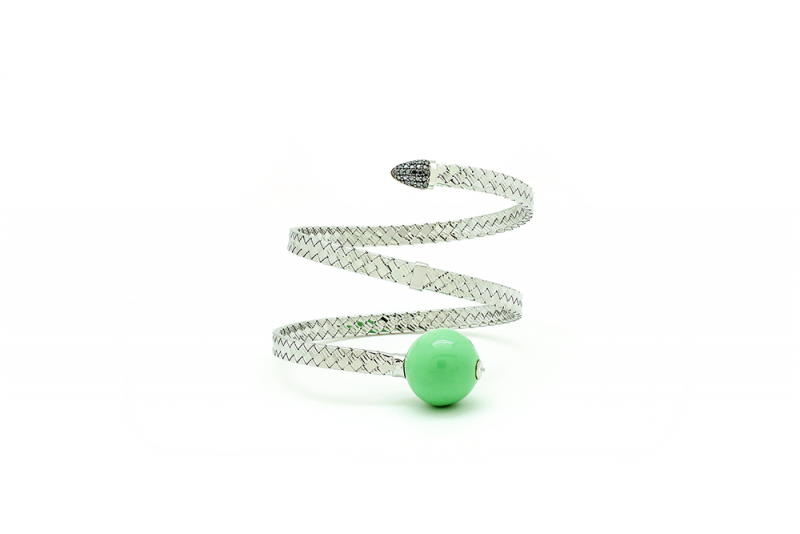 Bonbon | White gold bracelet with green ball | For Women