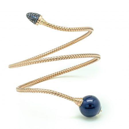 Bonbon | Yellow gold bracelet with dark blue ball | For Women