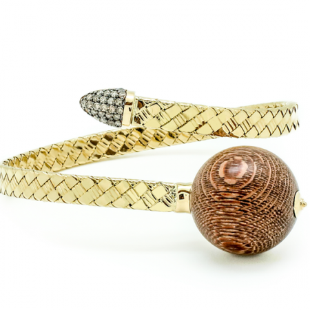 Bonbon | Yellow gold bracelet with brown wooden ball | For Women