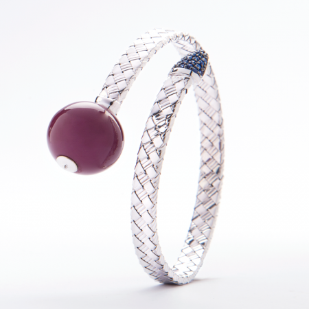 Bonbon | White gold bracelet with purple ball | For Women