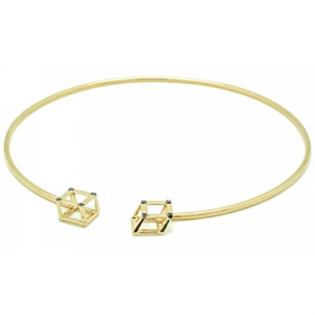Cube | Yellow gold choker with two yellow cubes | For Women