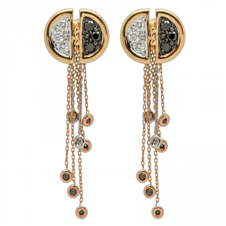 Ladybug | Rose gold earrings with black and white diamonds | For Women