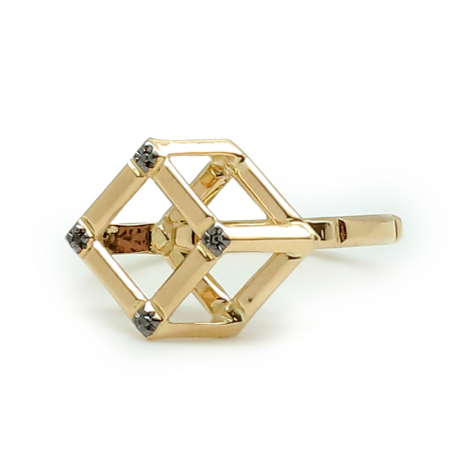 Cube   Yellow gold ring with yellow gold cube   For Women