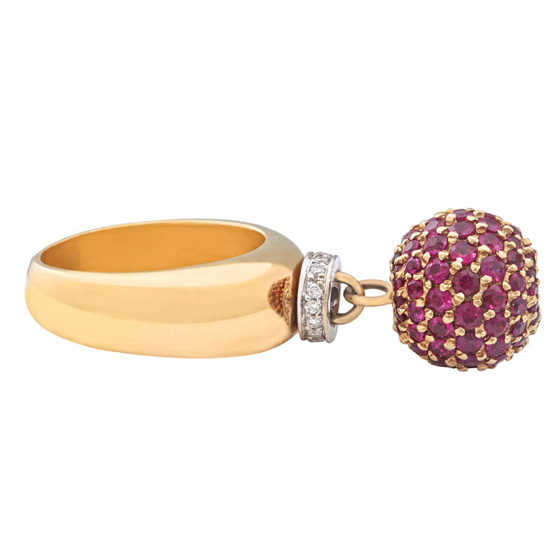 Bonbon | Yellow gold ring with purple ball and diamonds | For Women