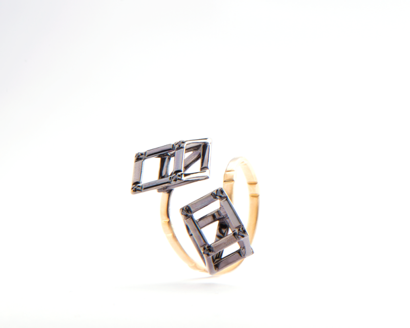 Cube | Yellow gold ring with two black gold cubes | For Women