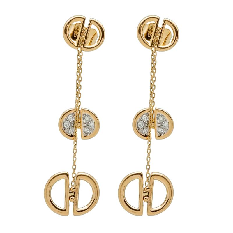 Ladybug | Yellow gold earrings with diamonds | For Women