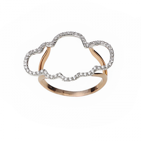 Cloudy | Rose gold cloud ring with diamonds | For Women