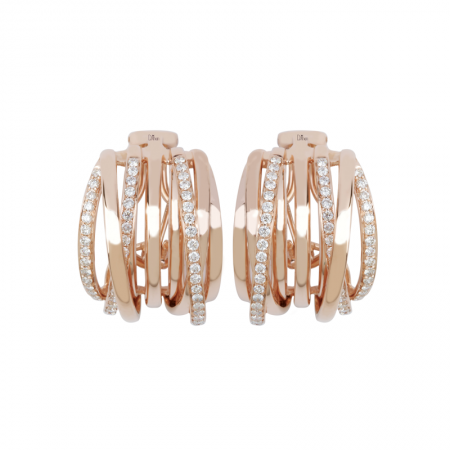 Diamonds | Rose gold  earrings with layers diamonds | For Women