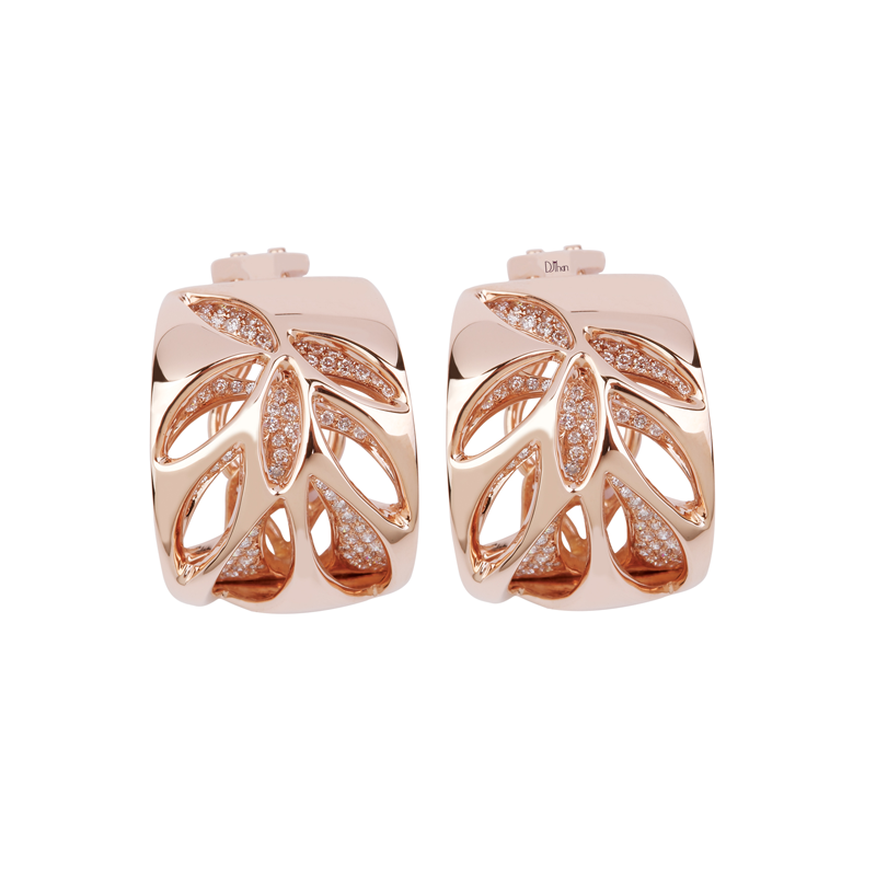 Diamonds | Rose gold leaf earrings with diamonds | For Women