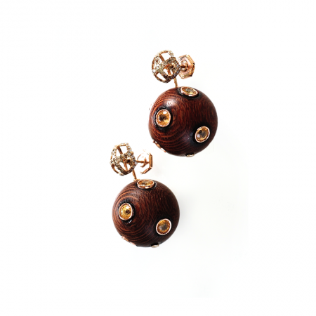 Bonbon | Yellow gold earrings with brown wooden balls | For Women