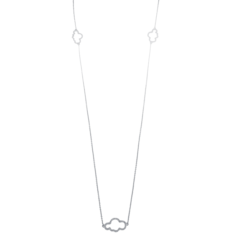 Cloudy | White gold necklace with diamonds | For Women