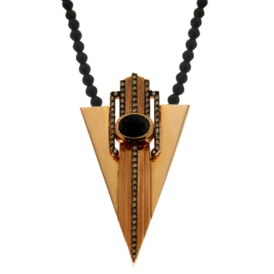 Petra | Rose gold necklace with black chain | Unisex