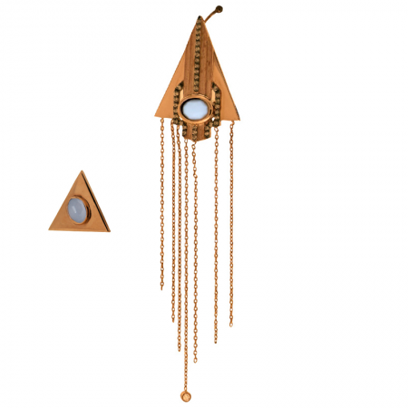 Petra | Rose gold earrings with golden chains and blue stone | For Women