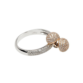 Diamonds | White gold ring with yellow half-balls and diamonds | For Women