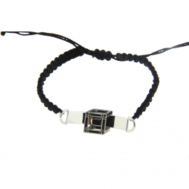 Cube | White gold bracelet with black cube | Men