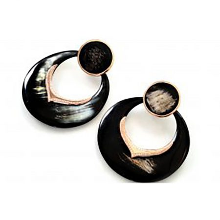 Horn | Black gold earrings with diamonds | For Women