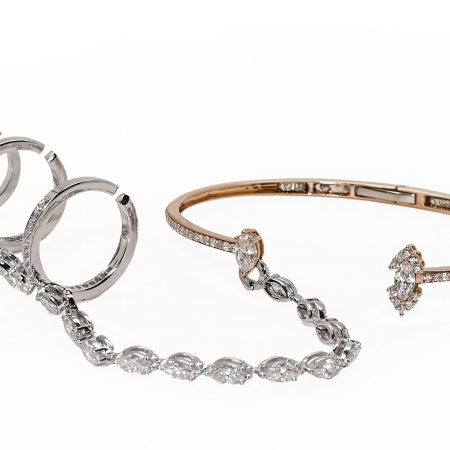 Waterfall | White gold bracelet with diamond ring | For Women