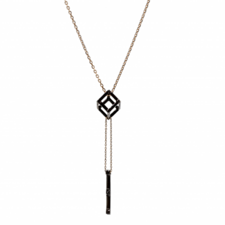 Cube | Black gold cube pendant | For Women