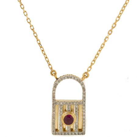 Unlock My Heart | Rose gold pendant with red stone and diamonds | For Women