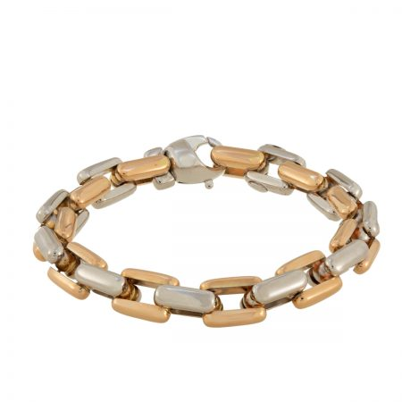 Bubble | White & Yellow Gold Chain Bracelet | For Women