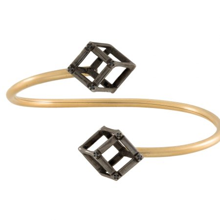 Cube | Double Black gold Cube bracelet | For Women