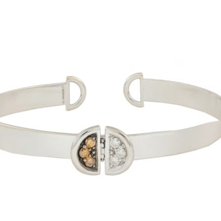 Ladybug | White gold cuff bracelet with black and white diamonds | For Women