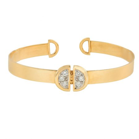 Ladybug | Yellow gold cuff bracelet with white diamonds | For Women