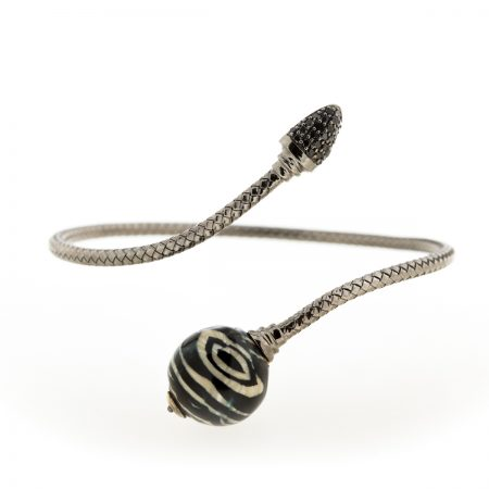 Bonbon | White Gold Bracelet with Zebra ball | For Women