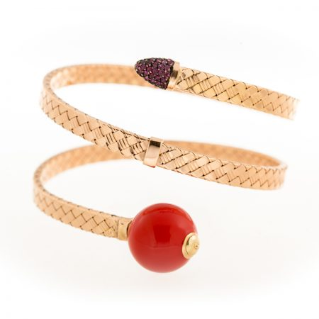 Bonbon | Rose gold bracelet with red ball | For Women