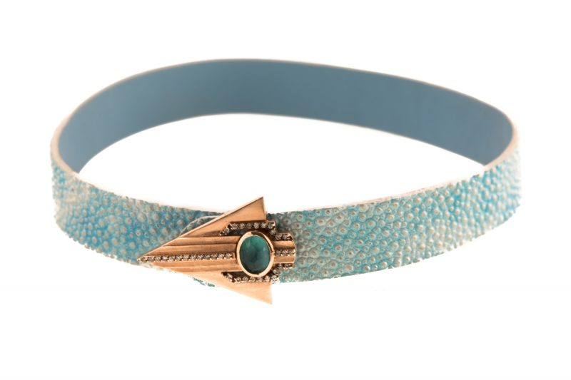 Petra | Blue Snake leather bracelet | For Women