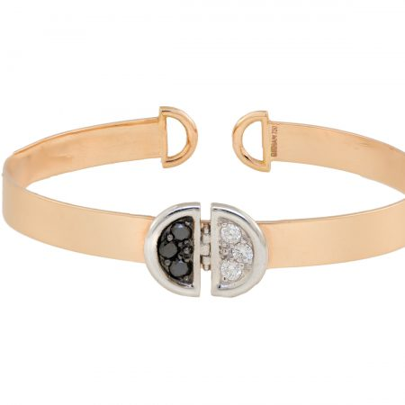 Ladybug | Yellow gold cuff bracelet with black and white diamonds | For Women