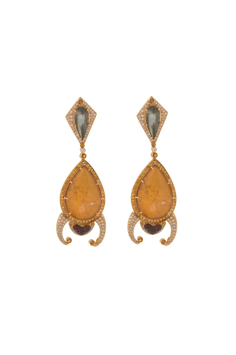 Diamonds | Frog-shaped yellow earrings | For Women