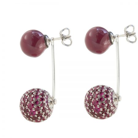 Bonbon | White gold earrings with diamond and two purple balls | For Women