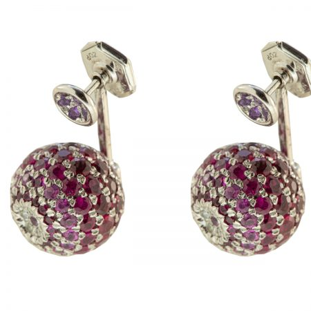 Bonbon | White gold earrings diamonds and one purple ball | For Women