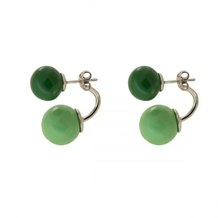 Bonbon | White gold earrings with two green balls | For Women
