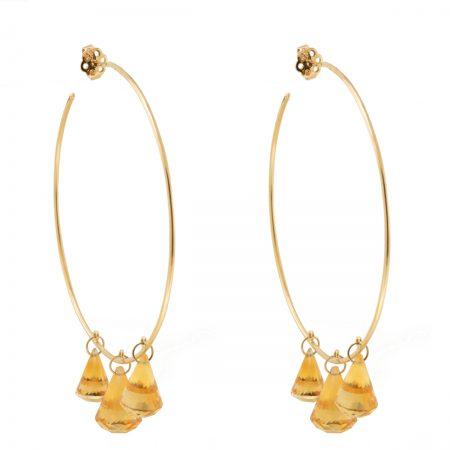 Gold | Citrine Cone gold earrings | For Women