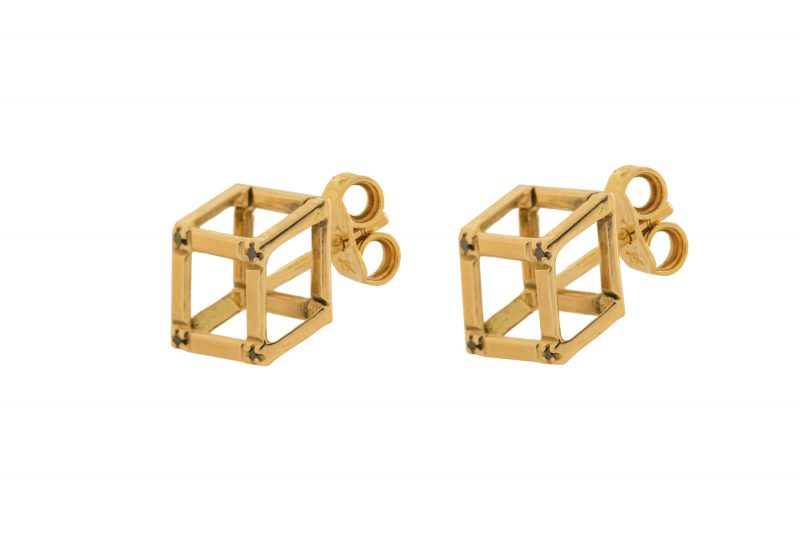 Cube | Yellow gold earrings | For Women