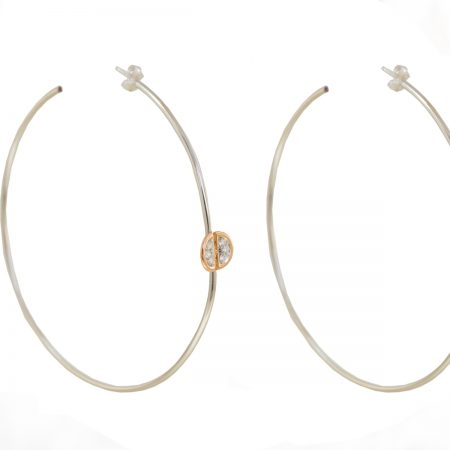 Ladybug | White gold hoop earrings with white diamonds | For Women