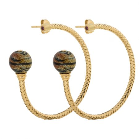 Bonbon | Pink gold hoop earrings with tiger pattern ball | For Women