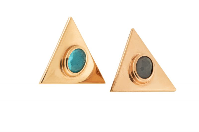 Petra | Rose gold triangle earrings with blue and black stone | For Women