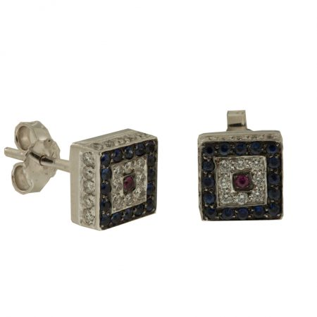 Diamonds | White gold square earrings with dark blue diamonds | For Women