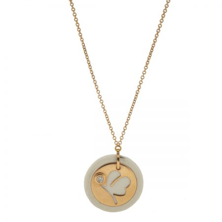 Mini U | Rose gold white round necklace | For Women