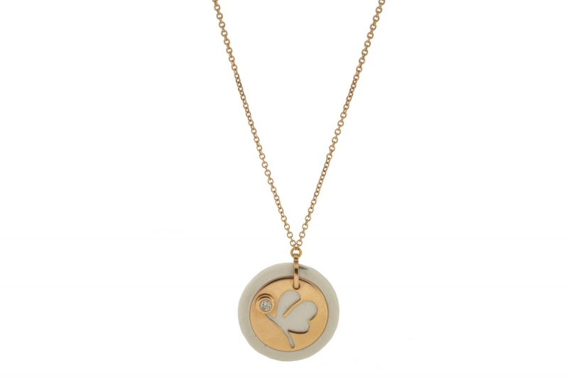 Mini U | Rose gold white round necklace | For Women