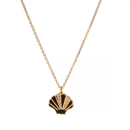 Mini U | Rose gold and black oyster necklace | For Women