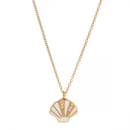 Mini U | Rose gold and white oyster necklace | For Women