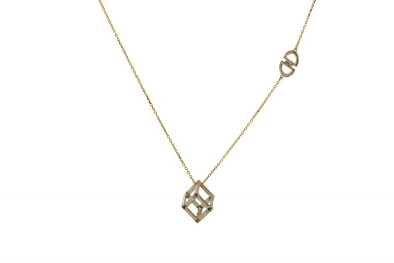 Cube | Yellow gold cube necklace with DD logo | For Women