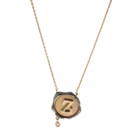 Petra | Rose gold necklace with brown Z logo | For Women