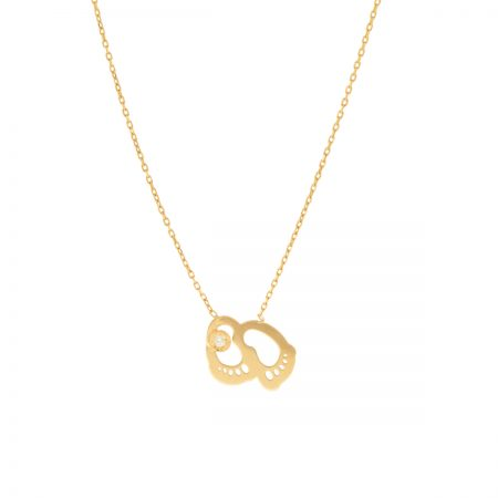 Mini U | Yellow gold baby feet necklace | For Women